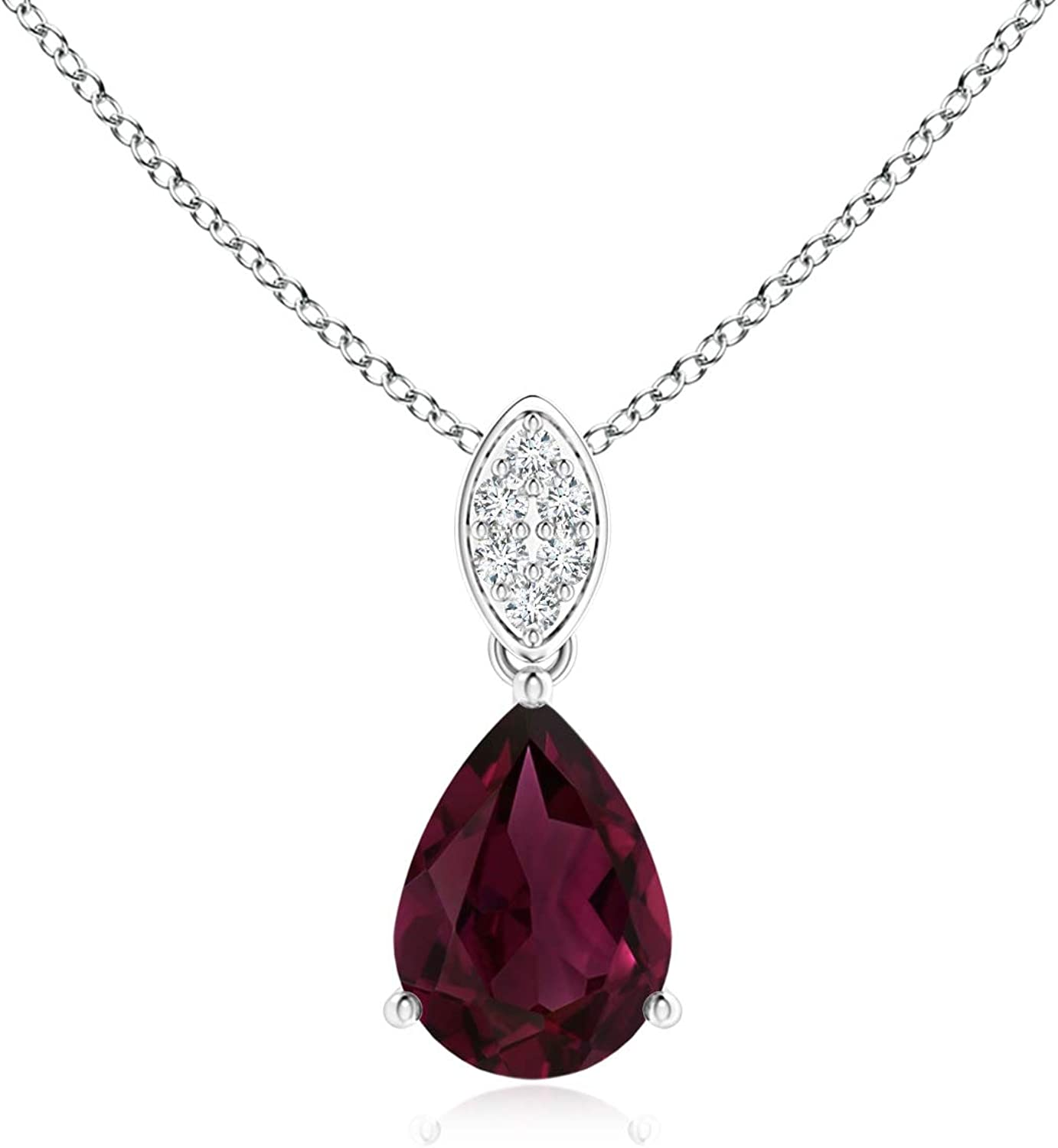 Limited price Pear-Shaped Rhodolite Pendant In a popularity with 7x5mm Bale Ga Leaf
