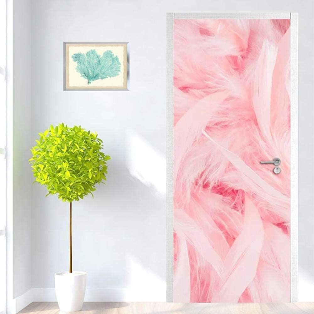 WSNDXZZ 3D Door Stickers At the price of surprise Quantity limited Self-Adhesive Waterproof Feather Pink A