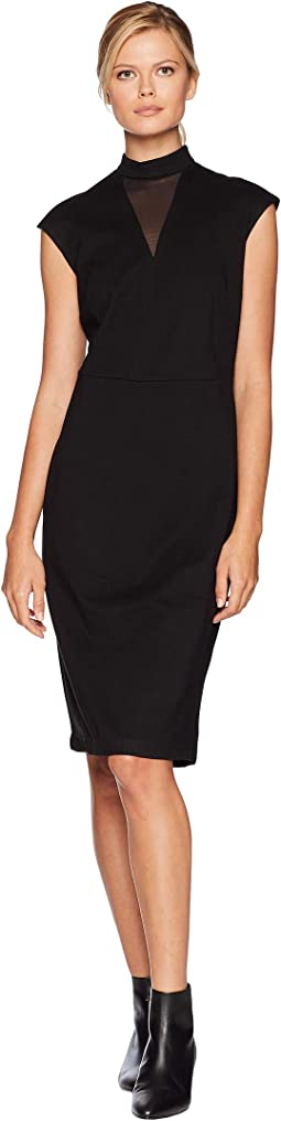 Illusion Neck Fitted Ponte Sheath
