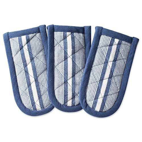 DII Cotton Stripe Quilted Pan Handle, 6x 3 Set of 3, Machine Washable and Heat Resistant for Everyday Kitchen Cooking and Baking-French Blue