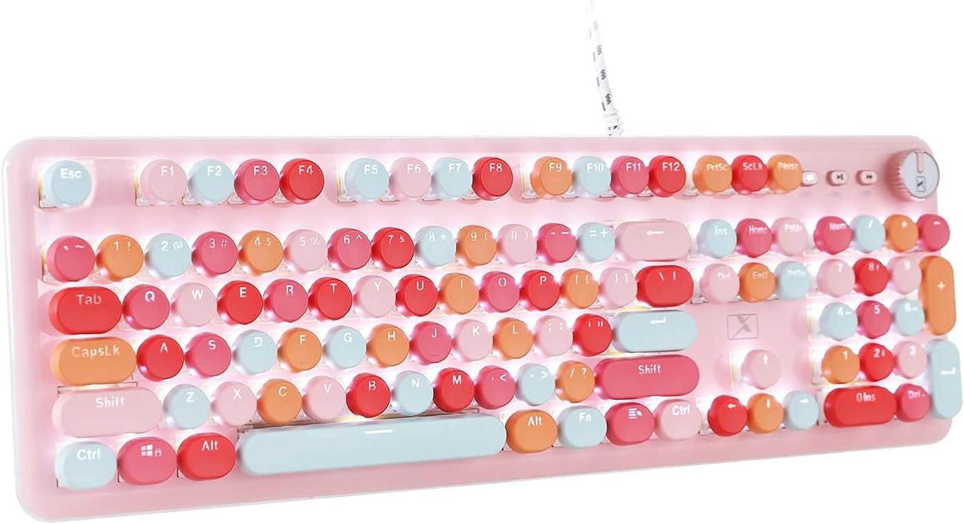 Retro Mechanical Gaming Keyboard Typewriter Long Beach Mall Style Water Import