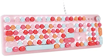 Teclado mecánico retro para juegos estilo máquina de escribir, teclado impermeable con cable, paleta de lujo de 104 teclas, panel de metal, teclas ...