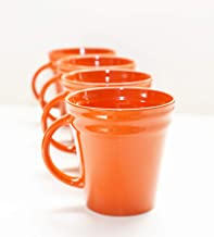 Rachael Ray Dinnerware Double Ridge Mug Set, 4-Piece (Orange)