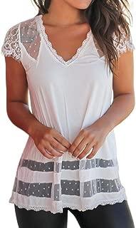 CUCUHAM Women Ladies Lace Splice Round Neck T-Shirt Short Sleeve Tops Blouse