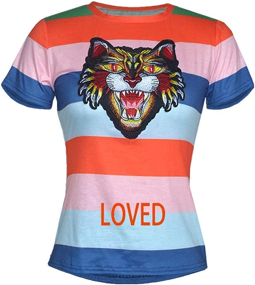 Camiseta de manga corta para mujer con cabeza de tigre ...