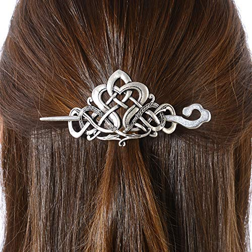 Viking Celtic Hair Clips Hairpins- Viking Hair Accessories Celtic Knot Hair Pins Antique Silver Hair Sticks Irish Hair Decor Accessories for Long Hair Jewelry Braids Hair Slide Clip With Stick (N-D1)