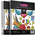 """Artisto 9x12"""" Premium Sketch Book Set, Spiral Bound, Pack of 2, 200 Sheets (100g/m2), Acid-Free Drawing Paper, Ideal for Kids, Teens & Adults."""