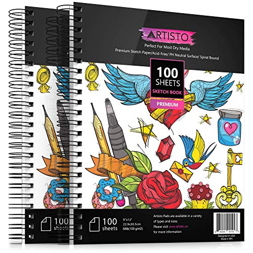 Artisto 9x12' Premium Sketch Book Set, Spiral Bound, Pack of 2, 200 Sheets (100g/m2), Acid-Free Drawing Paper, Ideal for Kids, Teens & Adults.