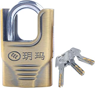 Hardened Steel Padlock with Shield - Heavy Duty 50mm Armored Brass Lock Security Burglock with Shielded Hardened Steel Padlock - Gym, Lockers, Outdoor, Fence, Shed, Buckle, Storage Unit, Warehouse,