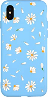 JOYLAND Daisy Case for iPhone XR Bumper Floral Skin Anti-Scratch Shock Proof Blue TPU Matt Case Cover Shell Compatible for iPhone XR