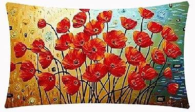 Enchanting Beautiful Oil Painting Red Poppy Flowers Anniversary Day Present Cotton Linen Waist Lumbar Pillow Case Cushion ...