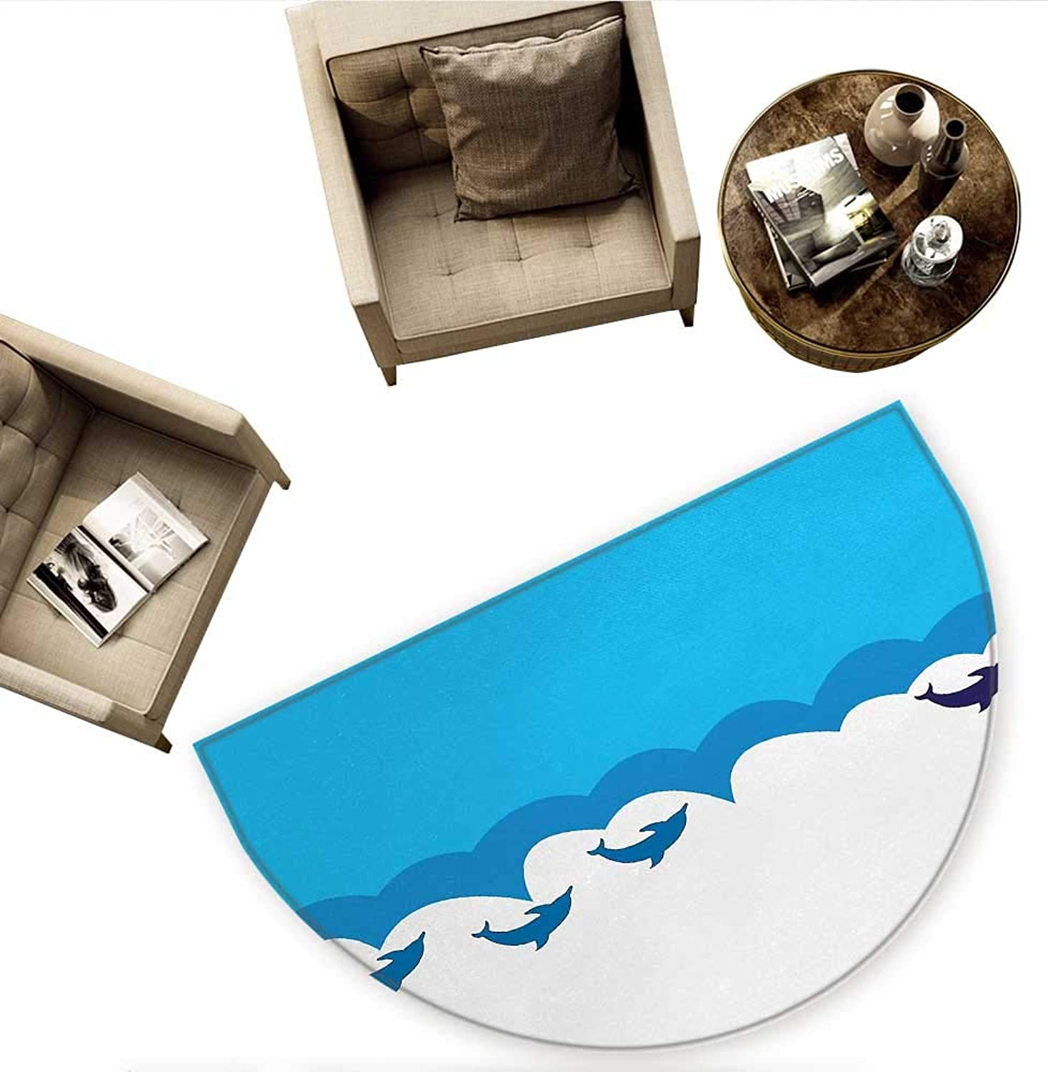 Sea Animals Semicircular CushionLead and Three Dolphins Shadow on Waves Oceanlife Maritime Theme Image Entry Door Mat H 59  xD 88.6  bluee Turqouise