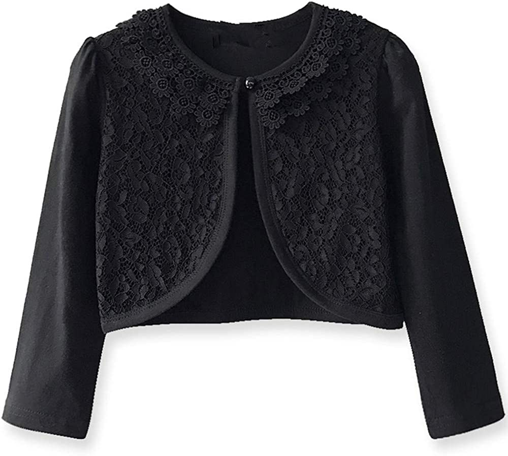 Girls Long Sleeve Lace Cardigan Bolero Shrug Toddler Sweater Best Match for Dresses Party Wedding Casual Daily Wearing