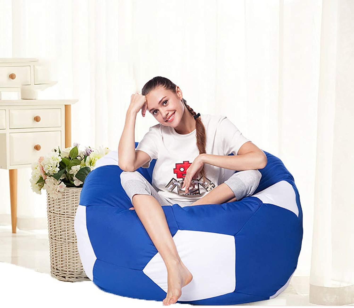 Football Bean Bag Chairs, Lazy Sofa Recliner Tatami Bedroom Floor beanbags, Indoor Lounge Recreation Furniture (50-90cm),bluee,50cm