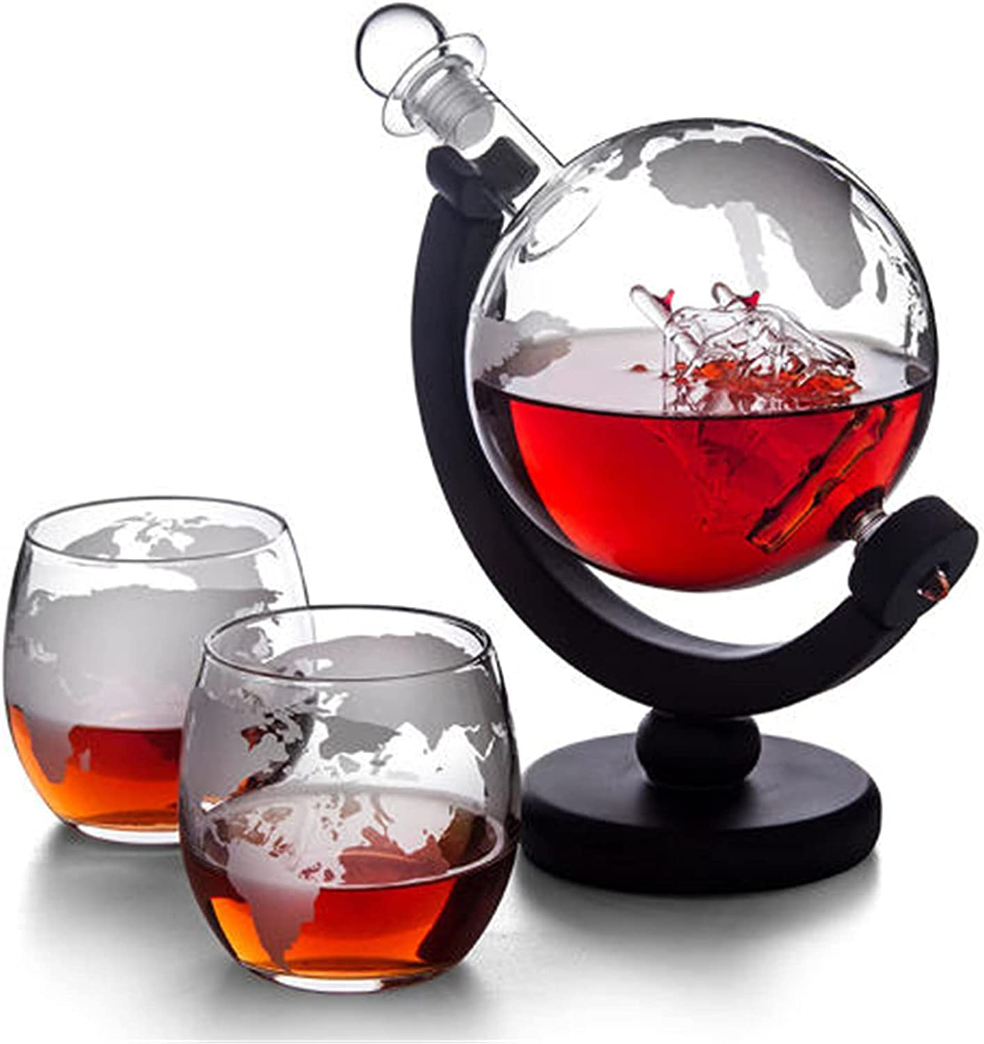 Anoauit 67% Shipping included OFF of fixed price Glass Whisky Decanter Set Globe - with 850ml Gl