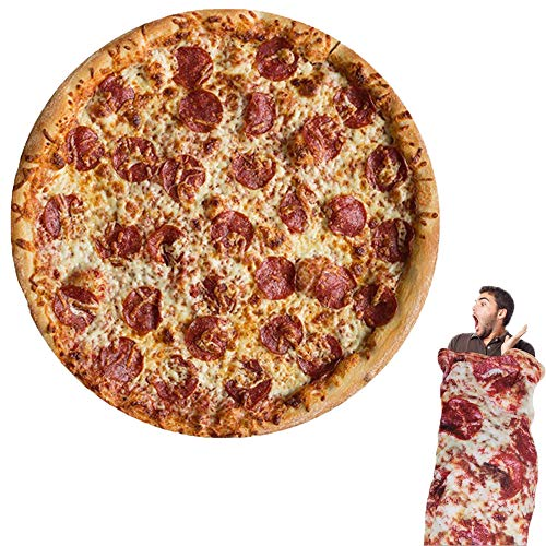 Wenosda Pizza Decke Burrito Tortilla Decken Runde Essen Decke Wickeln Strand Handtuch Teppich Teppich Picknick weich für Schlafzimmer Sofa Outdoor Vier Jahreszeiten (150cm / 60in) (Pizza Stil)