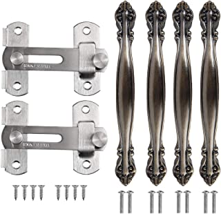 Tanice 2PCS Gate Latch Stainless Steel Bar Latch Safety Door Lock Sliding Door Bolt Lock with 4PCS Cabinet Handle for Pet Gate, Cabinet Furniture, Door, Window
