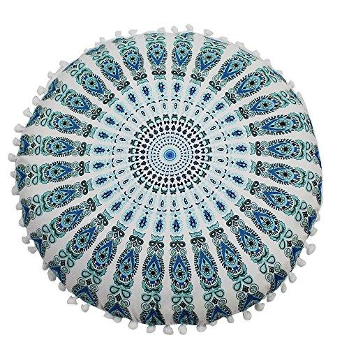 Janly Clearance Sale Funda de almohada, diseño de mandala indio, redondo, bohemio, funda de almohada para el día de Pascua (G)