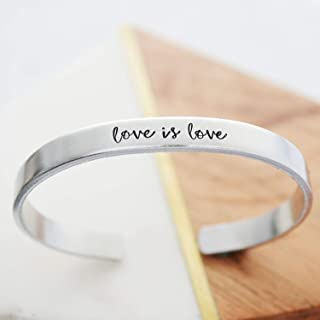 Love is Love Bracelet LGBT Pride Hand Stamped Jewelry Gift for Girlfriend LGBTQ Equality Marriage