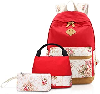 XHHWZB Children's Backpack Canvas Backpack Female Korean Version of The Rural Wind Backpack Three-Piece Students