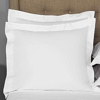 MP Linen White Euro Pillow Shams Set of 2 - Luxury 580 Thread Count 100% Egyptian Cotton Cushion Cover Euro Size Decorative Pillow Cover Tailored Poplin European Pillow Sham (2 Pack, Euro 28''x28'')