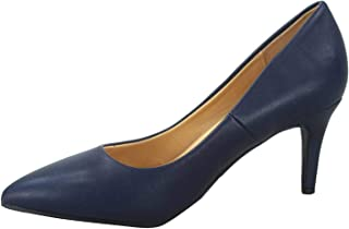 City Classified FZ-Coen-s Women's Classic Pointed Toe Low Heel Comfort Pump Office Shoes Blue Size: 10