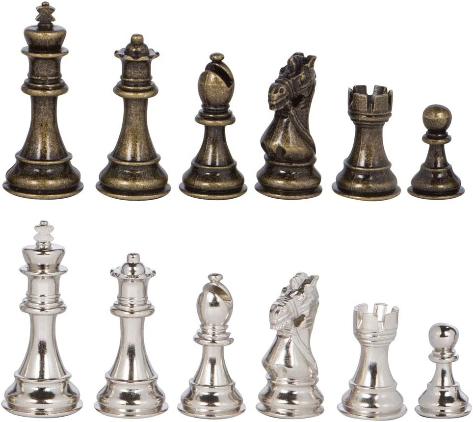 Frankfort Silver and Max 57% OFF Bronze Metal Chess Pieces Denver Mall Inch 3.75 Ki with