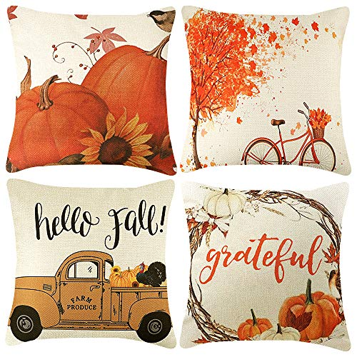 CDWERD 4pcs Fall Pillow Covers Thanksgiving Farmhouse Decorative Autumn Theme Throw Pillow Covers Cotton Linen Cushion Case 18x18 Inches