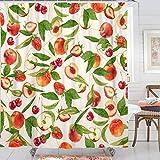 Kanuyee Duschvorhang, Obstduschvorhänge für Badezimmer, Äpfel, Kirschen, Pfirsiche, Erdbeeren, Duschvorhang-Set, wasserdicht, Standardgröße 72 x 72 cm