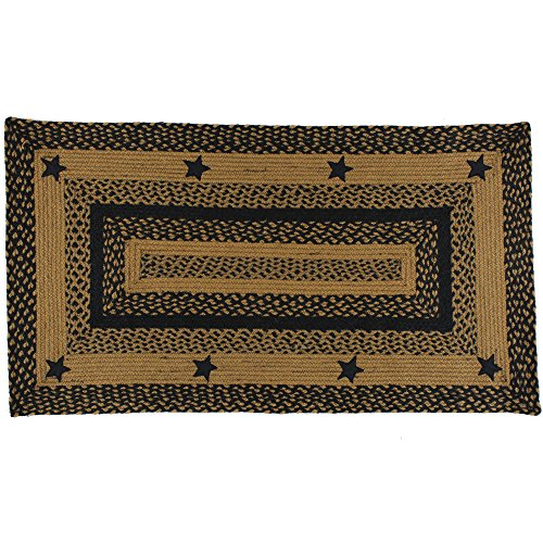 """IHF Home Decor Braided Area Rug Rectangle Star Design Jute Fabric Material,Black, Tan 20""""x30"""" to 8'x10' (36""""x60"""")"""