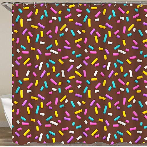 KGSPK Duschvorhang,Schokoladen-Donut-Glasur mit vielen dekorativen Streuseln 1,Wasserfeste Bad Vorhang aus Polyestergewebe mit 12 Haken Duschvorhang 180x180cm