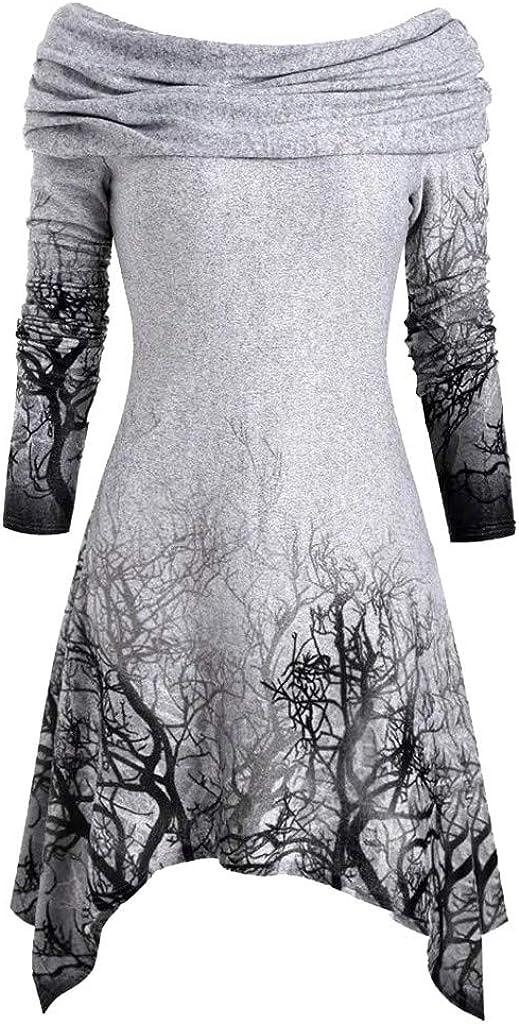 Women's Halloween Hoodie Tree Print Convertible Collar Asymmetrical Knitwear Cloak Tops