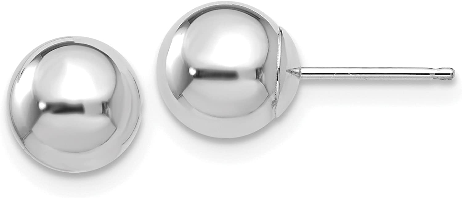 14K White Gold Polished 7mm Ball Post Earrings (Approximate Measurements 7mm x 7mm)