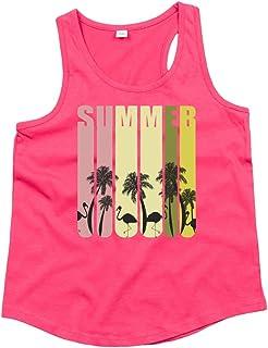 Druckerlebnis24 Camiseta de tirantes unisex para niños y niñas de verano, flamencos, palmeras y playa
