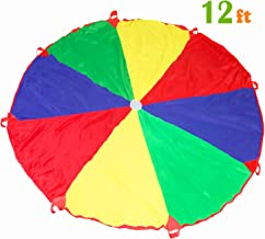 Kids Play Parachute 12ft Kids Sport Parachute with 8 Easy Hold Handles for Team Game