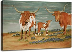 Large Cow Pictures Wall Decor Animal Heifer Classical Vintage Canvas Artwork Modern Framed Art Farmhouse Wall Art Canvas Print for Living Room Teens Bedroom Office Decor Ready to Hang 24 x 36 Inches