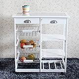 Fishing Pussy 26'' Kitchen Cart Storage Sideboard Dining Buffet Server Cabinet Cupboard, 2-Drawer 3-Basket 3-Shelf Storage Rack with Rolling Wheels, White