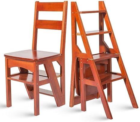 Yxsd Scaletta Multifunzione Per Uso Domestico In Legno Massello Ikea Sedia Pieghevole Per Bambini Scaletta Scaletta Per Uso Professionale A Quattro Gradini 38 39 60 Cm Color Wine Red