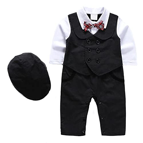 44d4e07e2 1Pcs Baby Boy Long Sleeves Jumpsuit Tuxedo Clothing Set with Berets Cap and  Bowtie