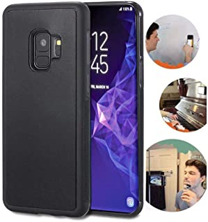 Wingcases for Samsung Galaxy S9 Case, Anti Gravity Black Case Magic Nano Sticky Case for Galaxy S9 5.8 inch Suction Stick on The Wall Selfie Case with Dust Proof Film