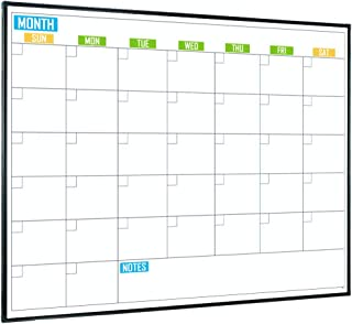Lockways Magnetic Calendar White Board, Colorful Magnetic Dry Erase Calendar Board 48 x 36 Inch, Monthly Framed Planning Whiteboard 4 x 3 Feet