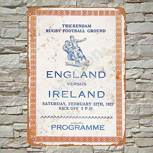 No/Brand 1927 Rugby England vs. Ireland Cartel de Chapa Metal Advertencia Placa de Chapa de Hierro Retro Cartel Vintage para Dormitorio Pared Familiar Aluminio Arte Decoración