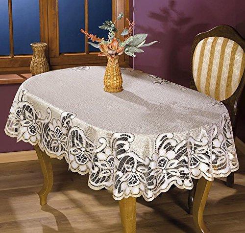 MforStyle – Tischdecke mit schwerer Spitze, Creme-/Gold-/Beigefarben, Oval, qualitativ hochwertig