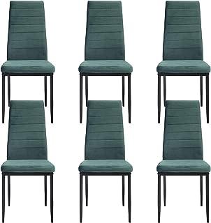 LOVEMYHOUSE Sillas de Cocina Juego de 6 sillas de Comedor Verde Oscuro con Marco de Acero Sillas de Comedor de Terciopelo con Respaldo Alto