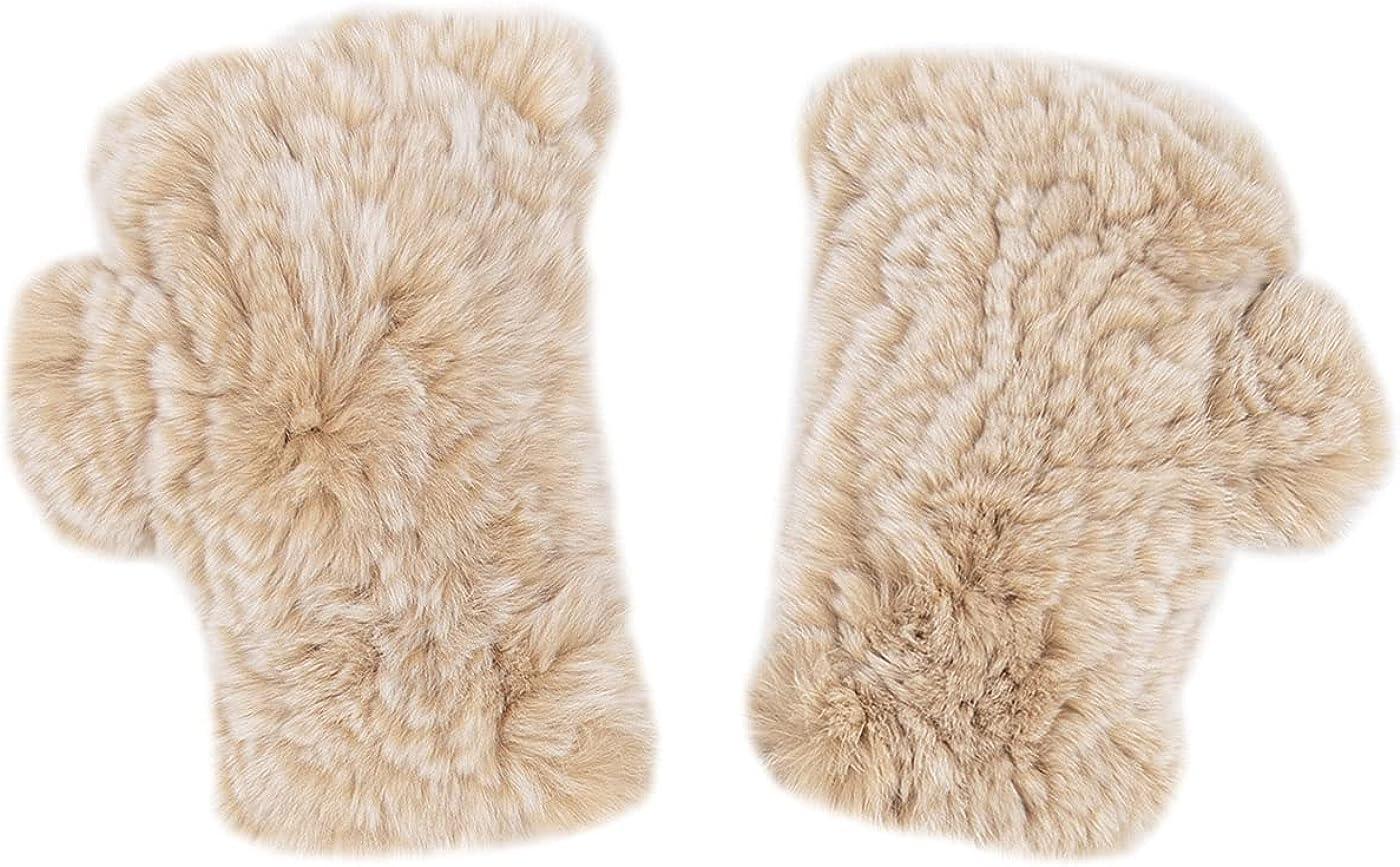 surell Real Rex Rabbit Textile Knit Fingerless Gloves - Fuzzy Texting Mittens