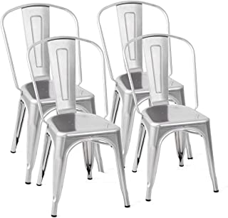 Costway Tolix Style Dining Chairs Metal Industrial Vintage Chic High Back Indoor Outdoor Dining Bistro Café Kitchen Side Stackable Chair Set of 4 (Silver)