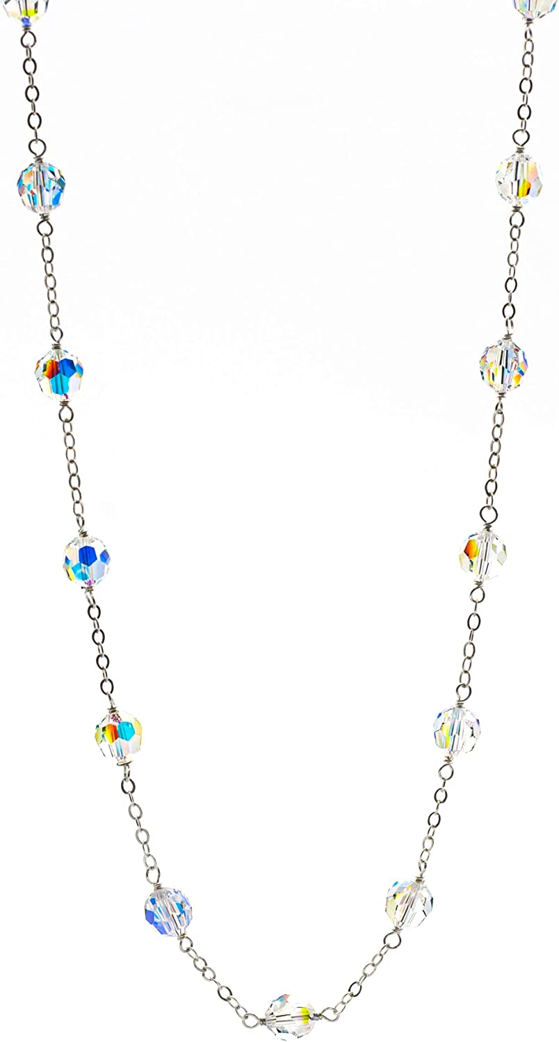 Tin-Cup Style Necklace made with Glass Aurora Borealis Popular brand Rapid rise European