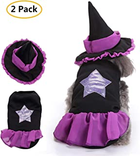 TOLOG Halloween Pet Puppy Clothes Cute Witch Cosplay Dog Outfit for Holiday Sets Costumes with Hat