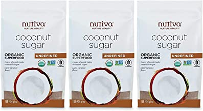 Nutiva Organic Unrefined Granulated Coconut Sugar, 1 Pound (Pack of 3) | USDA Organic & Non-GMO | Vegan & Gluten-Free | Low-Fructose Sugar Alternative for Coffee, Tea & Baking