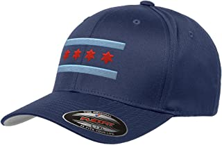 Chicago Flag Flexfit Premium Classic Yupoong Wooly Combed 6277 LR Hat (Large/X-Large, Navy Blue)